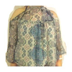 LIGHT BLUE AND PINK PAISLEY PRINT SHEER BLOUSE